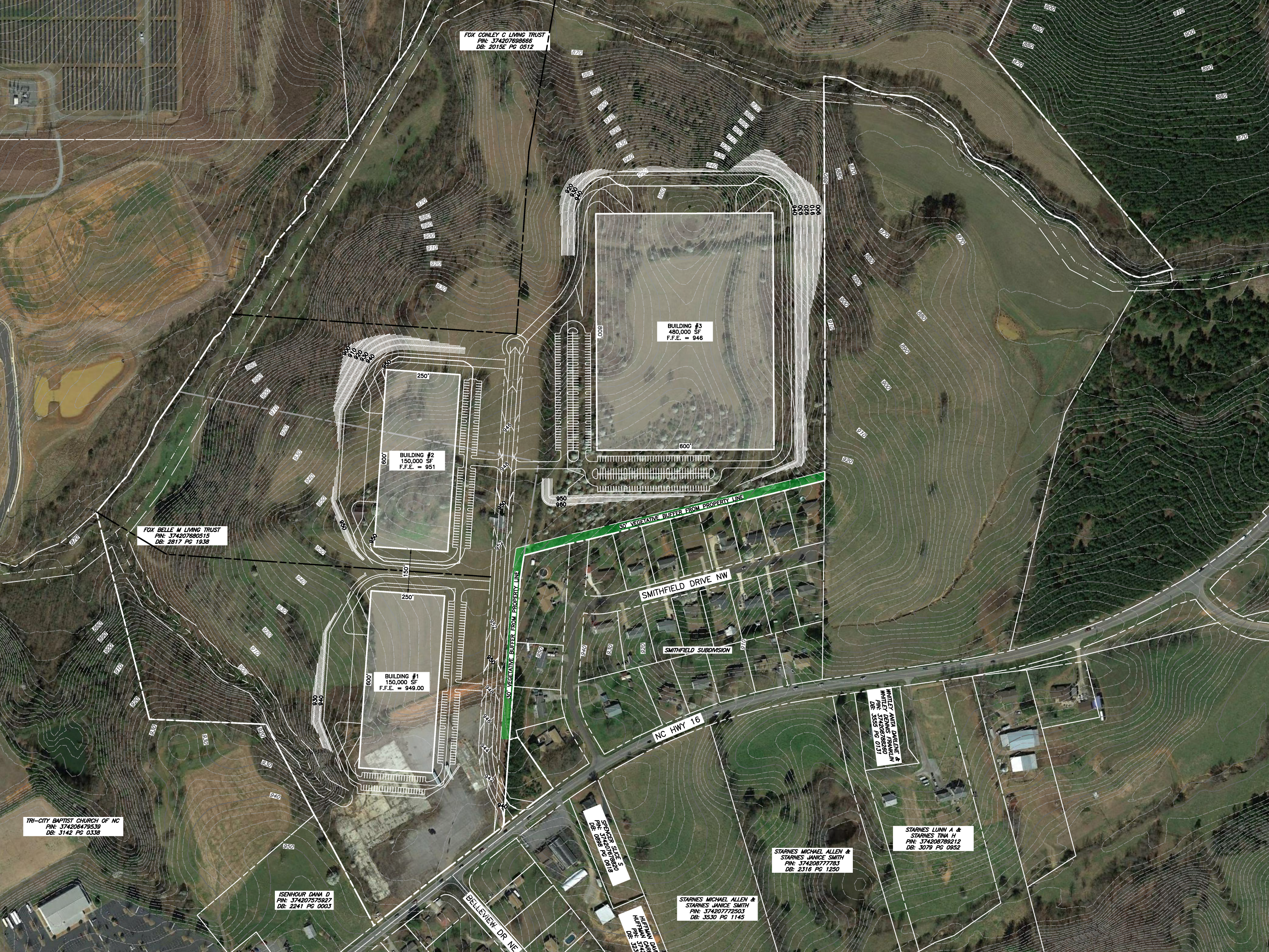 Conceptual Site Plan showing a 480,000 sf building and two 150,000 sf buildings.