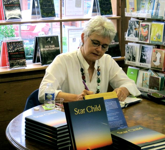 Kay Signing books at Bunch of Grapes Bookstore in Martha's Vineyard