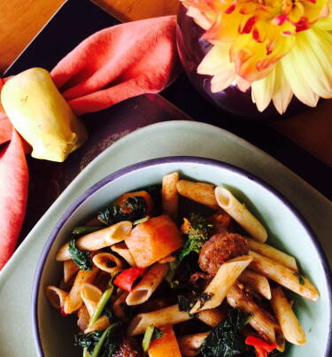 Balsamic penne with sausage,butternut and greens