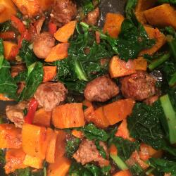 Balsamic sausage, butternut and greens