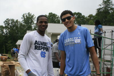 Justin Jackson and Kenny Williams on the Habitat work site