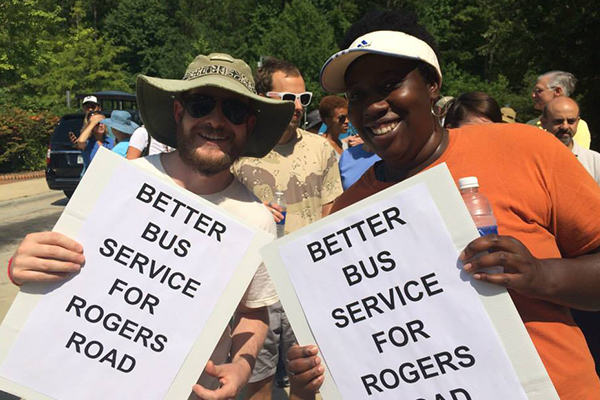 Adwoa Asare and Alex Nickodem campaign for better bus service on Rogers Road